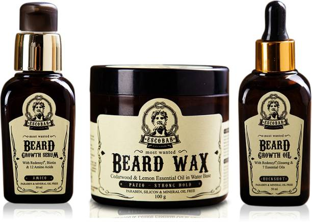 ESCOBAR Men Beard Growth Serum, Beard Wax and Beard Growth Oil.