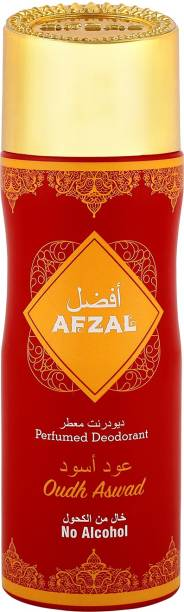 AFZAL Non Alcoholic Oudh Al Aswad for Men & Women 200 Ml Deodorant Spray  -  For Men & Women