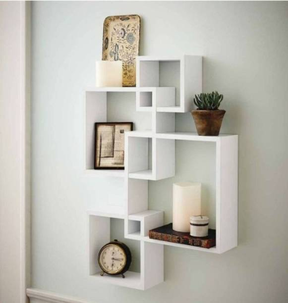 Decorhand Wall Mount Set of 4 White Wall Shelves Storage Rack Shelves Wooden Wall Shelf