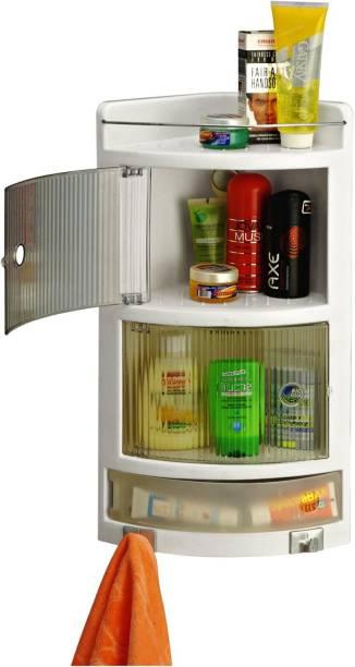 HOUZIE HOUZIE-Crystal Corner-Ivory Plastic Wall Shelf