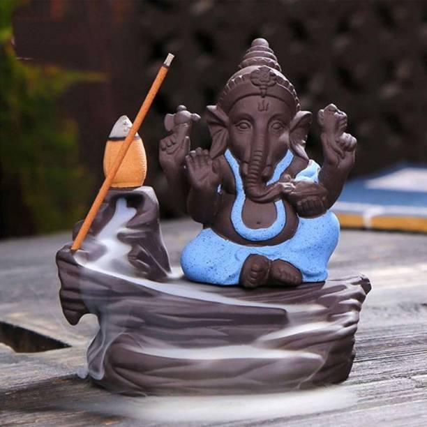 eCraftIndia Lord Gold Ganesha Smoke Backflow Cone Incense Holder Decorative Showpiece Decorative Showpiece  -  12 cm