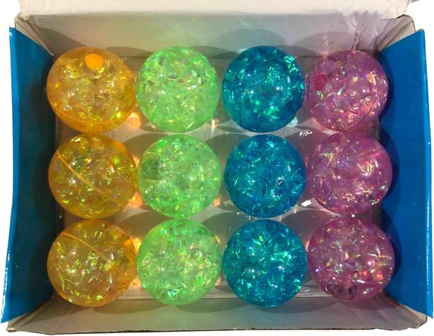 VK MART Rubber Led Flashing Luminous 12Pcs Bouncing Ball Fun Gift Toys for Children  - 8 cm