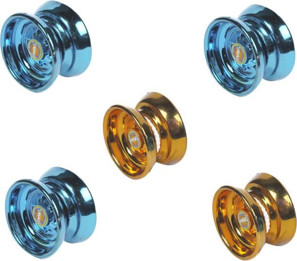 AutoVHPR Set of 5 Yoyo Toys 3 Blue 2 Golden Yoyo Toys for Children to Play