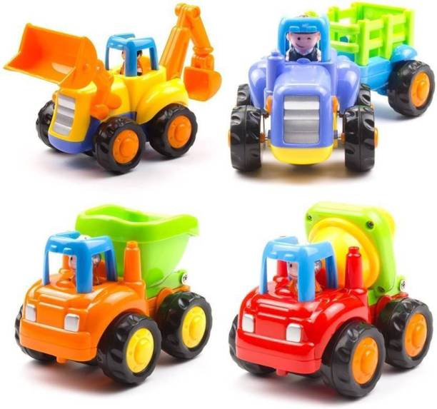BuyCreativeLife Unbreakable Engineering Toys for Kids - Pack of 4 JCB, Cement Mixer, Tracktor Trolly, Dumper