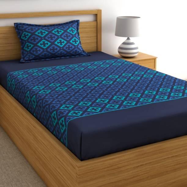 Home Ecstasy 140 TC Cotton Single Geometric Bedsheet