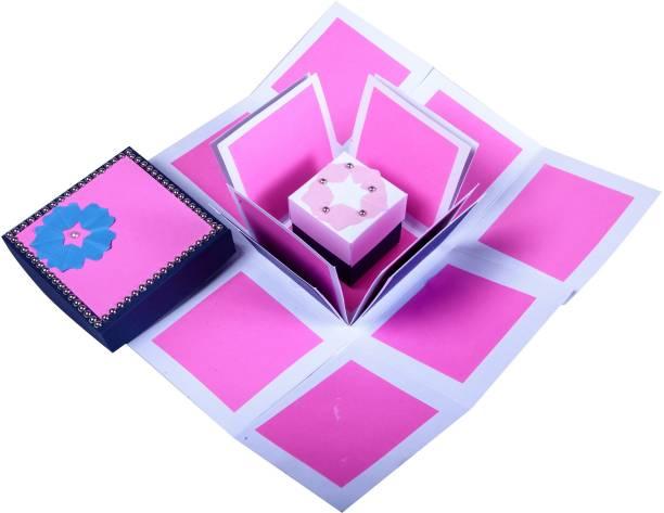 Gennies Handsel 3 Layered Pink Flamingo DIY Explosion Box Greeting Card