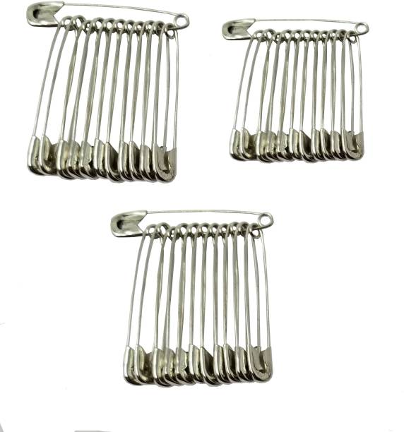 Evogirl Safety Pin Premium Quality Metal Saree Pin Lock Pin 4cm Silver , Med, For Women / Girls (Pack Of 36) Back Pin