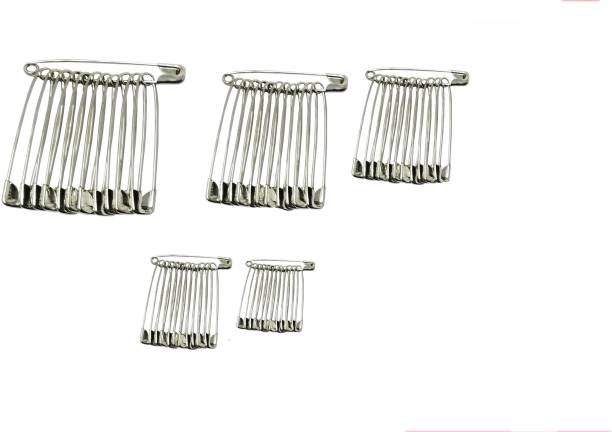 Evogirl Safety Pin Combo Of 5 different sizes Premium Quality Metal Saree Pin Lock Pin Silver , xs,s,med,large,xl, For Women / Girls (Pack Of 60) Back Pin
