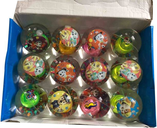 VK MART dog character LED Rubber Bouncing 12pcs balls Flashing Inside Balls  - 8 cm