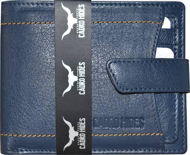 cadrohides Men Casual Blue Genuine Leather Wallet