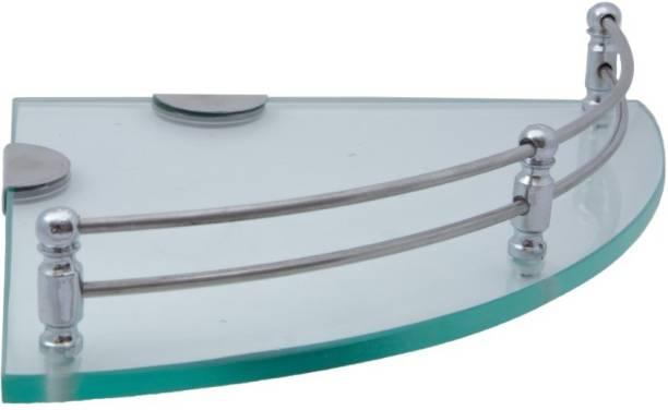 USF Glass Corner/Bathroom/Kitchen Shelf -9 X 9 Inches -Glossy -Wall Mount (Transparent) Pack of 1 Glass Wall Shelf