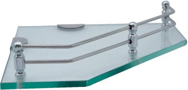 USF Dimond Glass Corner/Bathroom/Kitchen Shelf Glass Wall Shelf