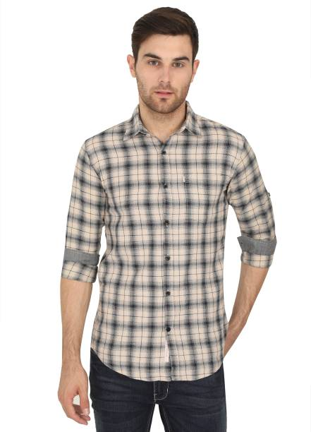 ASIAN & FITCH Men Checkered Casual Beige Shirt