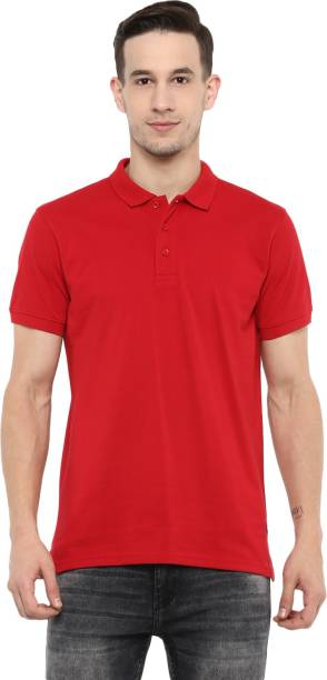 RED CHIEF Solid Men Polo Neck Red T-Shirt