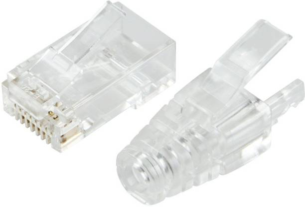 RIVER FOX 50 Sets Network Jack Plug of RJ 45 Connectors Modular Plugs + Transparent Boots Caps Wireless Wire Connector