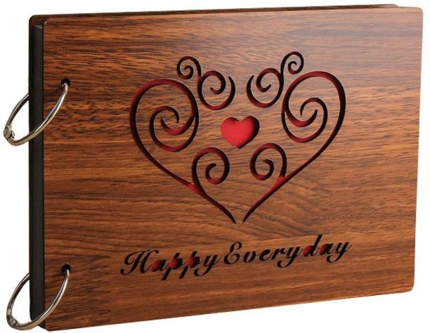"E DEAL N DISCOUNT ""Happy Everyday"" Wooden Scrapbook Photo Album Album"