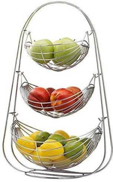 KEEPWELL Stainless Steel 3 Step Fruit & Vegetable Stand / Kitchen Rack / Kitchen Accessories / Kitchen Sand For Home Stainless Steel Fruit & Vegetable Basket