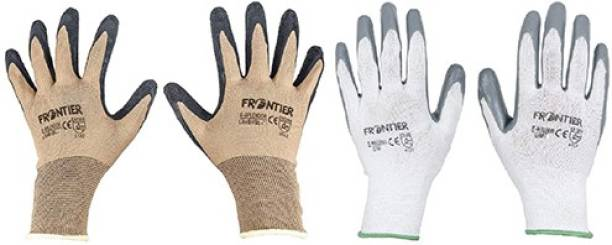 Spartan Frontier Combo of Knife Cut Resistant Hand (2 Pair, Large) Rubber  Safety Gloves