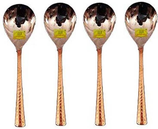 Shivshakti Arts Copper Spoon Serving Spoon Dal Rice Spoon Hammered Designed Homeware Hotelware::Set of 4 Copper Serving Spoon Set