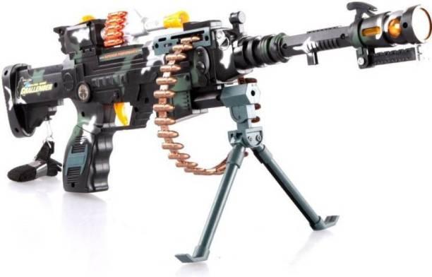 Sakshi Enterprises Musical Army Style Toy Gun with Music, Lights and Laser Light, 56 CM Long Guns & Darts