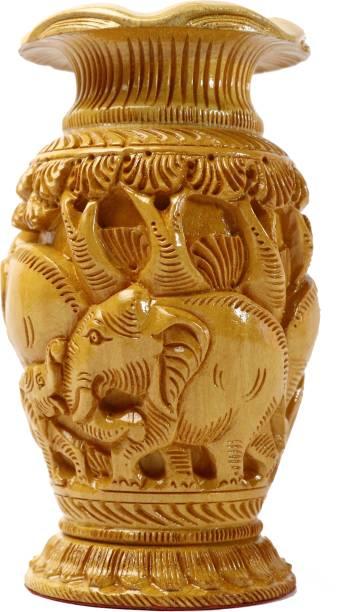 Whichwood Wooden Handcrafted Elephant Engraved Flower Vase Pot for Home Decoration Wooden Vase