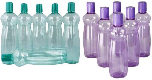 MILTON Pacific Purple and Green Plastic Fridge Water Bottle Set of 12 1000 ml Bottle
