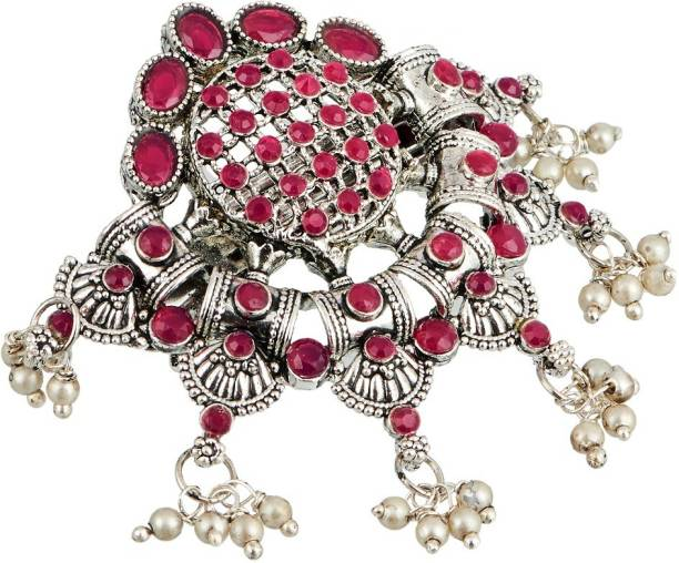 APARA Silver plated Oxidised Red Traditional Hairclip Jewellery for Girls/ Women Hair Clip