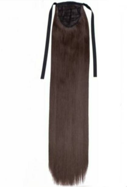 Alizz dark brown full straight hair ribbon pony Hair Extension