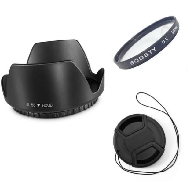BOOSTY COMBO 58MM Flower Lens Hood (Black) FOR 18-55MM 55-250MM Lens Hood + uv filter+ lens cap( pack of 3)  Lens Hood