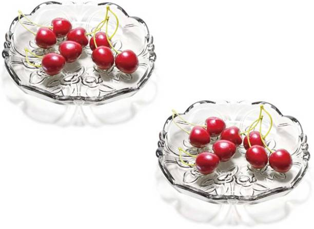 Gifts & Decor Glass Plate Tray for Dry Fruits,Fruits and Home Decoration Quarter Plate