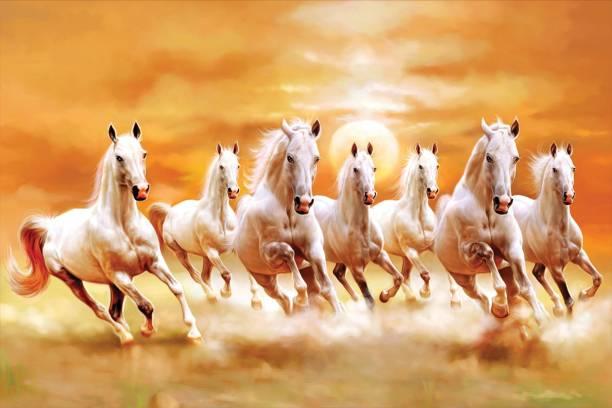 ''vastu Poster'' White 7 Horse vastu Painting, Wall Sticker, Wall Painting, Washable Vinyl Sticker Poster, Natural Sticker, Home Decor, Office Decor Photo, Wallpaper Paper Print (12 inch X 18 inch, rolled) Fine Art Print