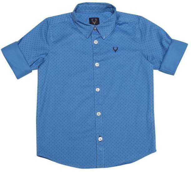 allen solly Boys Printed Casual Blue Shirt