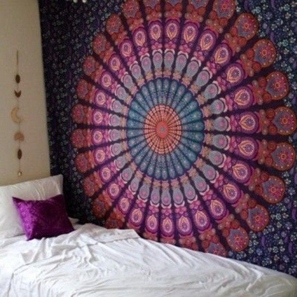 Large Hippie Mandala Tapestry Silver Ombre Wall Hanging Queen Bedspread Throw