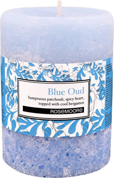 ROSeMOORe Handmade Scented Blue Oud Pillar Candle Candle