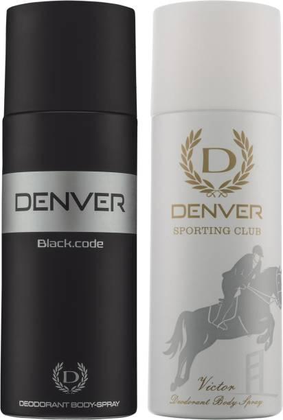 DENVER Black Code and Victor (Pack of 2) Deodorant Spray  -  For Men