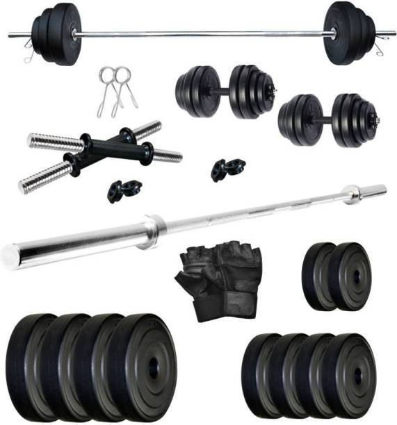 Star X 20 kg Home Gym PVC PVC 20 kg Dumbbell Set with 5Ft Straight Rod Gym Gloves Home Gym Combo