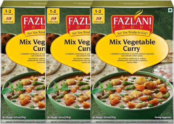 FAZLANI FOODS Ready to Eat Mix Vegetable Curry , (Pack of 3, 250 gm each) 750 g