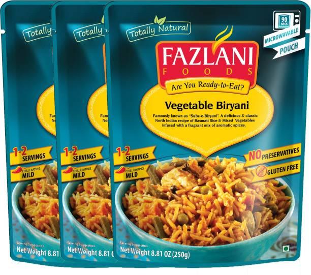 FAZLANI FOODS (Mixed Vegetable Basmati Rice) , (Pack of 3, 250 gm each) 750 g