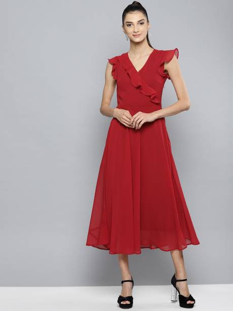 HARPA Women Fit and Flare Red Dress