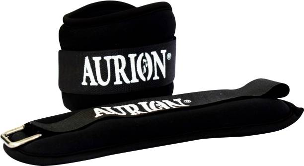 Aurion 1 Kg x 2 Wrist/Ankle Weights Pro Quality Adjustable Leg Weights Neoprene Black Ankle Weight