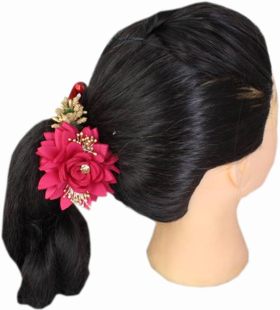 Ear Lobe & Accessories Banana Clip Both Side Flower Hot Pink Banana Clip
