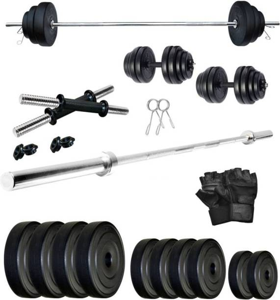 Star X 30 kg Home Gym PVC 30 KG Dumbbell Set with 5Ft Straight Rod & Gym Gloves Home Gym Combo