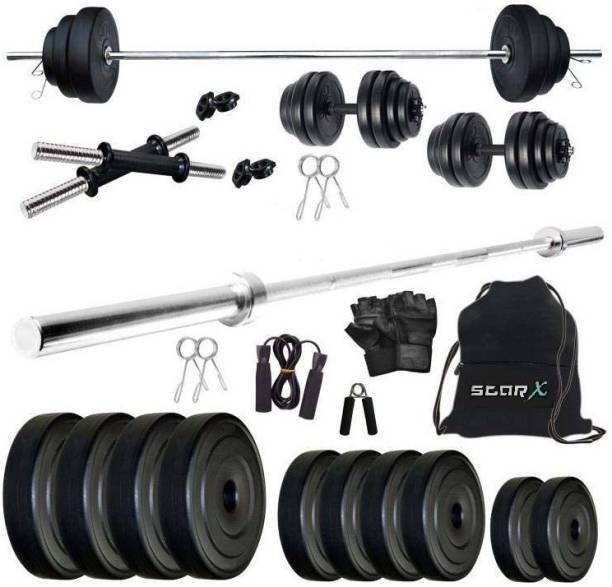 Star X 60 kg 60Kg PVC weight with 5ft Straight Rod and Accessories Home Gym Combo