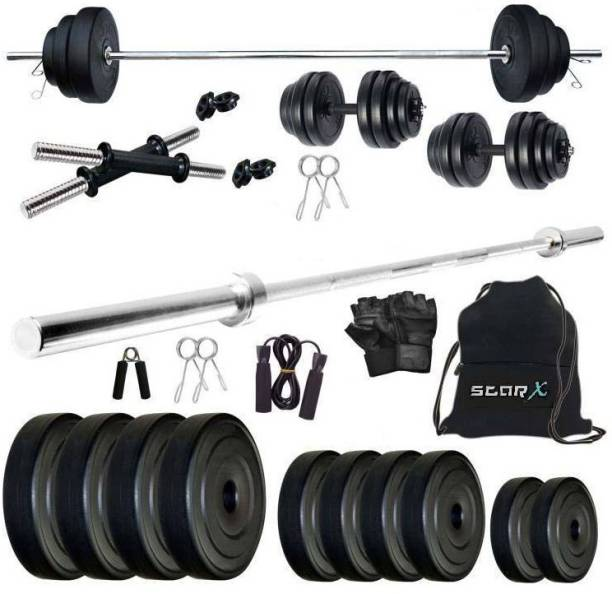 Star X 40 kg PVC 40 Kg Weight Combo of 5Ft Rod,Bag and Accessories Home Gym Combo