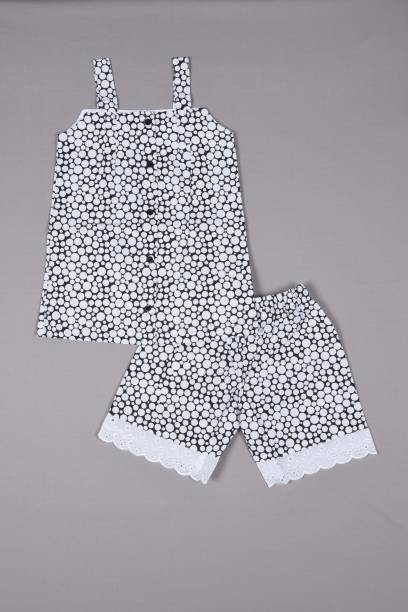 Ninos Dreams Kids Nightwear Girls Polka Print Cotton Viscose Blend