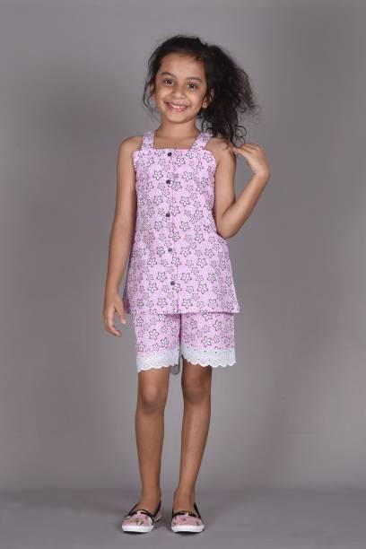 Ninos Dreams Kids Nightwear Girls Floral Print Cotton Viscose Blend