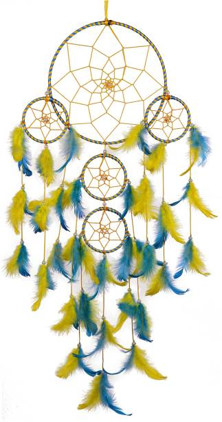 ILU Dream Catchers, Home Decor, Handmade Dream Catcher For Bedroom, Balcony, Garden, Party, Cafe, Big 5 Ring Beaded Yellow & Blue Feathers Iron Dream Catcher