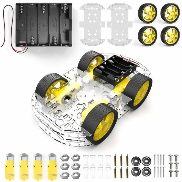 REES52 4 Wheel Robot Chassis Smart Car with Speed and Tacho Encoder with Battery Box