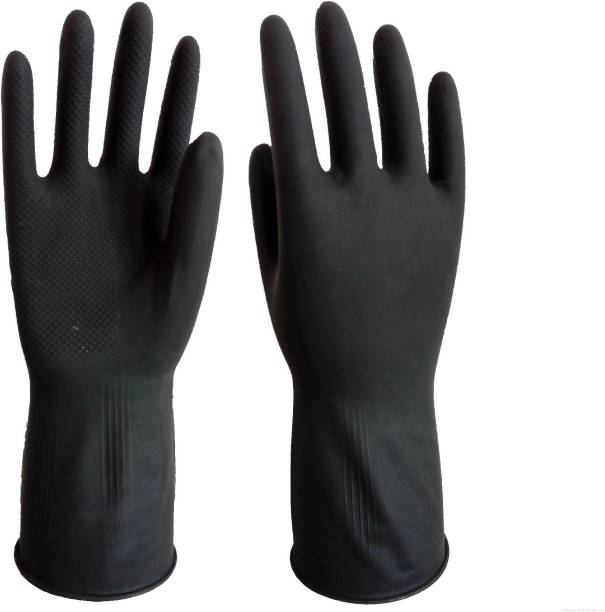 Green Home Reusable Latex Hand Gloves for Kitchen Black Wet and Dry Glove