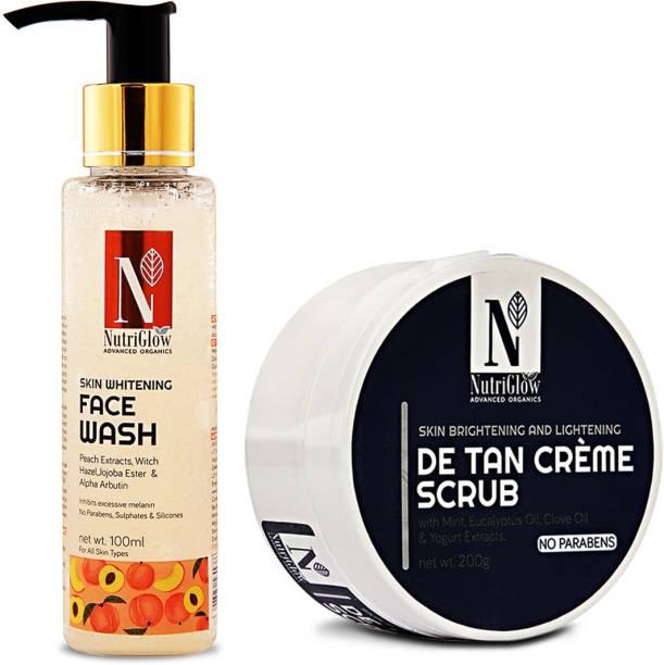 NutriGlow Skin Whitening Face Wash and Advance De Tab Crème Scrub